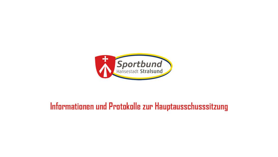 Protokolle zur Hauptausschusssitzung, Sportförderrichtlinie und Ehrenamtsauszeichnung