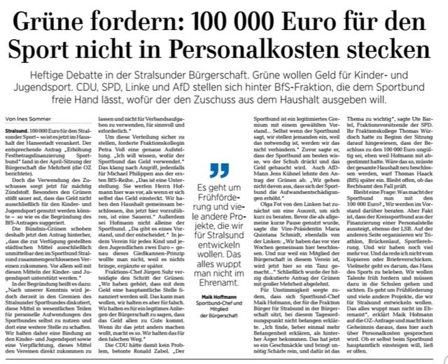100.000 € extra für den Sportbund Stralsund